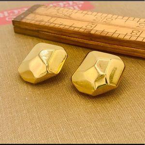 Vintage KJL clip on earrings chunky faceted gold